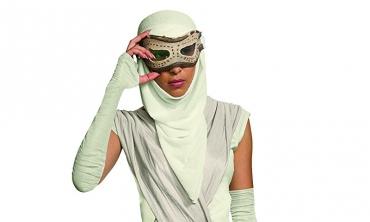 Star Wars: costume Rey (maschera con cappuccio, adulto)